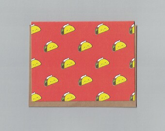 Happy Taco Pattern - Just Because - Illustrated Blank Greeting Card