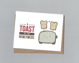 A Toast to the Newlyweds - Wedding - Illustrated Blank Greeting Card