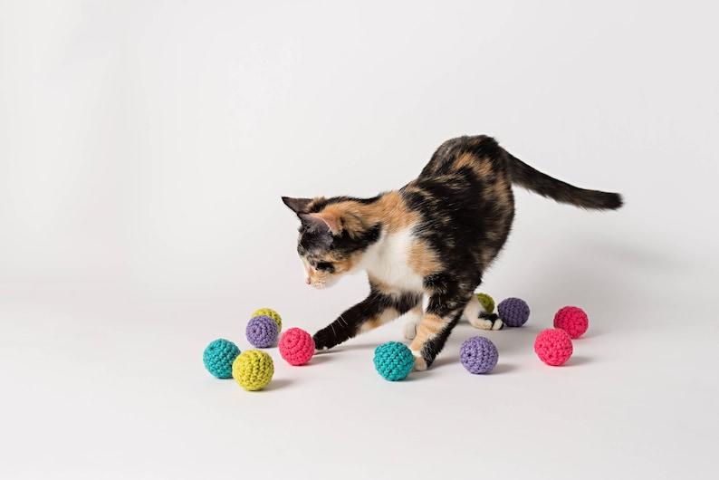 Bright Balls with Bells set of 3 handmade crochet toy image 0