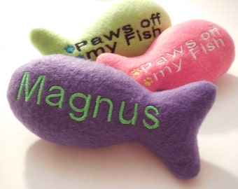 Personalized Rainbow Catnip Fish Cat Toy| cats| custom plush| personalized| catnip| handmade| rainbow| kitten play| cat gift| pet play