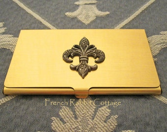 Fleur De Lis BUSINESS CARD CASE, Vintage Inspired French Themed Accessory for Women or Men, Silver on Gold...Free Velveteen Pouch