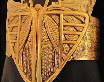 Art Deco Jewelry Butterfly Bracelet, Butterfly Wings Cuff Bracelet. Art Deco Style Bangle Bracelet Statement Vintage Inspired Geometric Moth