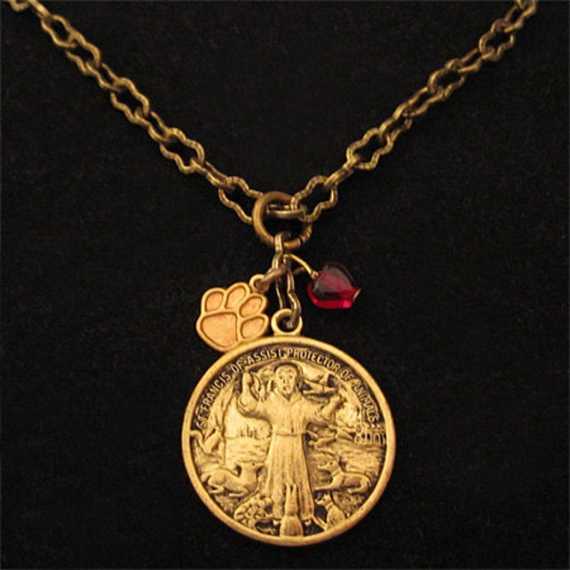 Saint francis of assisi pendant necklace catholic religious etsy image 0 aloadofball Choice Image