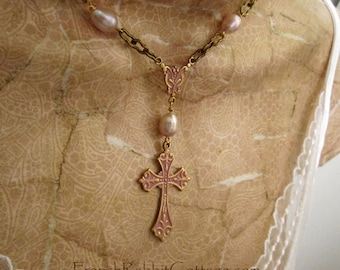 PINK WEDDING JEWELRY. Bridal Jewelry Pearl. Wedding Necklace. Brides Cross Necklace Pendant Bridesmaid Gift Religious Rustic Wedding Jewelry