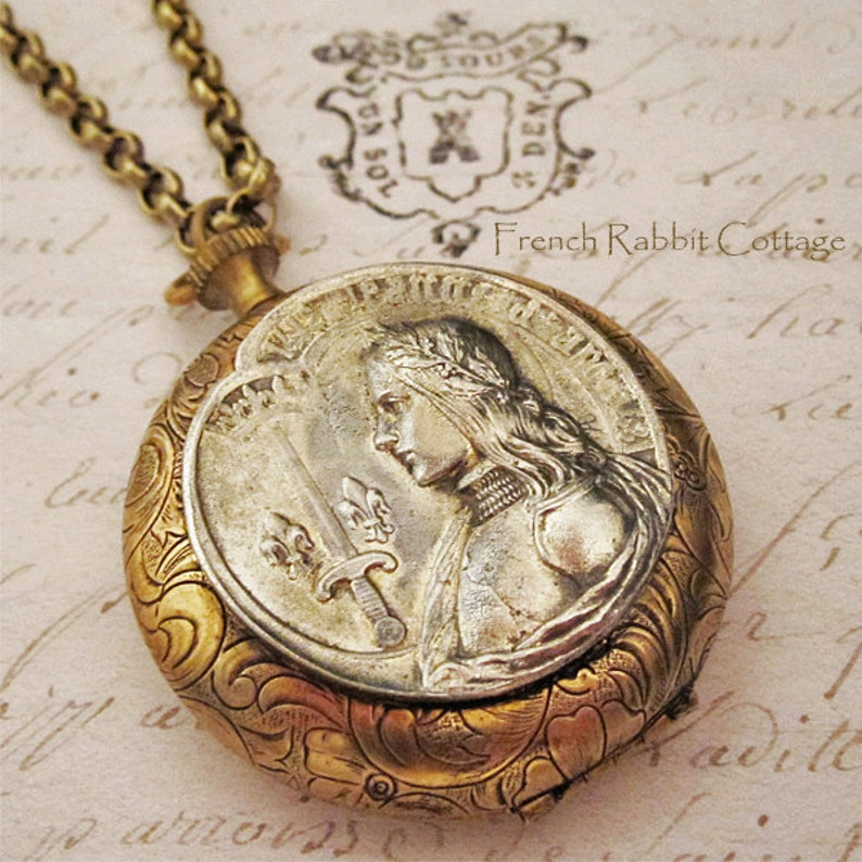 Joan of Arc Locket Necklace  French Catholic Saint Religious Themed Jewelry Vintage French Holy Medal Pewter Recast by Hand  Mixed Metal