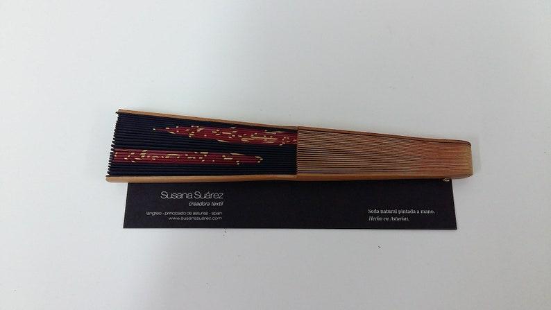 Spanish fan- Original fan- Roses fan- hand painted silk fan- black and red  fan- pear Tree wood fan- Original gift for her
