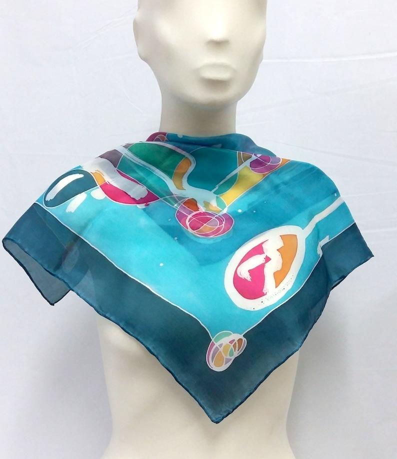pañuelo de seda pintado a mano pañuelo abstracto azul   etsy