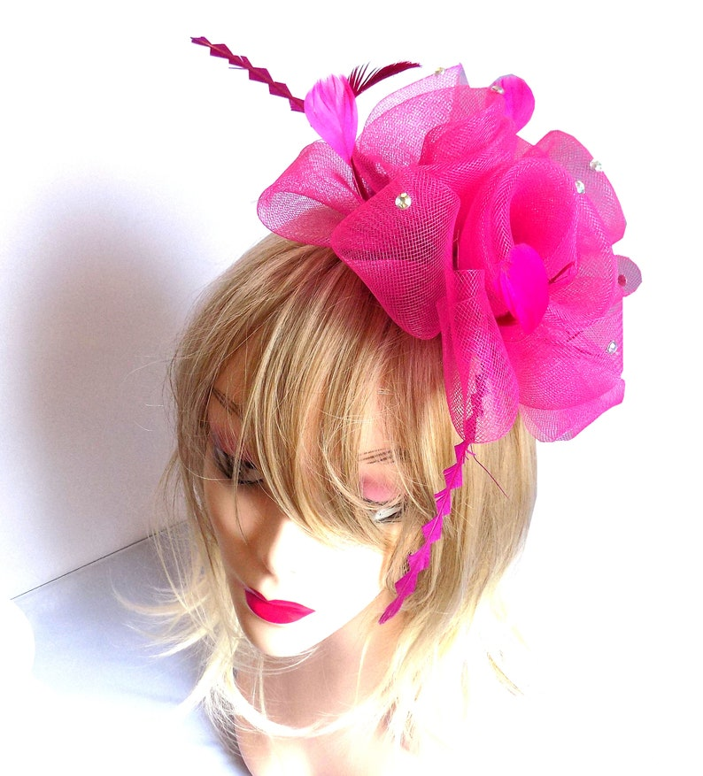 Shocking Pink Wedding Fascinator hand finished with real feathers