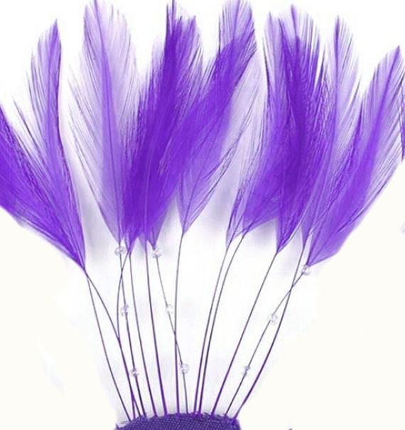 Cad Purple Coque Style x 5 Feathers for Millinery Hats or Fascinators