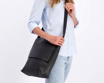 Messenger Bag, Leather Crossbody Purse, Black Leather Bag, Cross Body Bag, Laptop Bag Women, Leather Shoulder Bag, Personalized Leather Bag