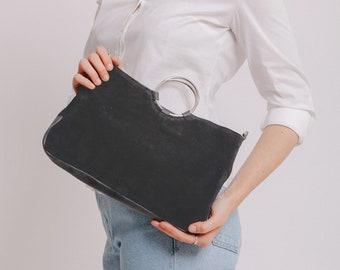 Leather Crossbody Bag, Suede Bag, Leather Handbag, Woman Leather Bag, Wristlet Clutch Purse, Gift For Her, Gray Leather Crossbody Purse SALE