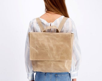Leather Backpack Women, Beige Leather Backpack, Large Laptop Backpack, Personalized Gift Women, Leather Diaper Backpack, Minimalist Backpack