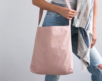 Leather Tote, Suede Bag, Shoulder Bag, Blush Pink Leather Bag, Soft Leather Bag, Magnet Closer, Lightweight Leather, Carry Bag, Tote Bag