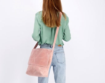 Personalize Purse, Leather Messenger Bag, Crossbody, School Bag, Pink Leather Purse, Leather Bag Woman, Laptop Bag, Travel Gift For Woman