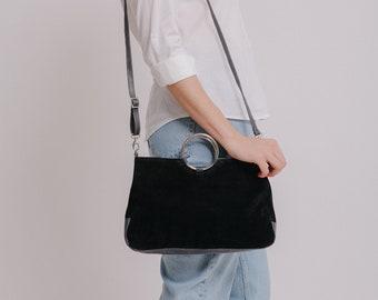 Small Leather Crossbody Bag, Evening Bag, Black Leather Bag, Suede Bag, Small Crossbody Bag, Leather Handbag For Women, Leather Handbag