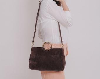 Crossbody Purse, Suede Leather Handbag, Crossbody Bag, Woman Leather Bag, Wristlet Clutch Purse, Gift For Her, Brown Leather Bag, HUGE SALE
