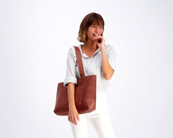 Brown Leather Bag, Leather Tote,  Laptop Bag, Shoulder Leather Bag, Woman Leather Bag, Zipper Tote Bag, Personalized Leather Bag For Women