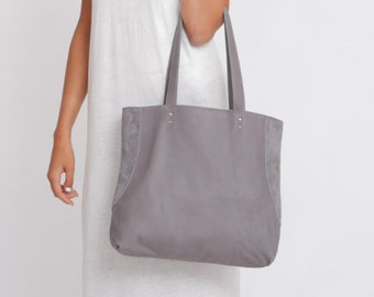 8f4d64e2df Gray Leather Tote