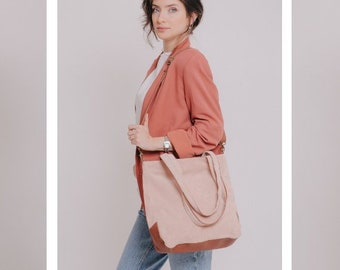 Leather Tote Bag, Crossbody Purse, Suede Leather Bag For Woman, Shoulder Bag, Leather Crossbody Bag Tote with Zipper, Handmade Leather Purse