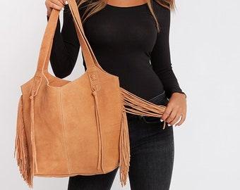 Leather Tote bag, Fringe bag, Soft Leather Bag, Women Handbag, Everyday Bag, Bohemian Bag, Large Leather Tote Bag, Handmade Leather Bag