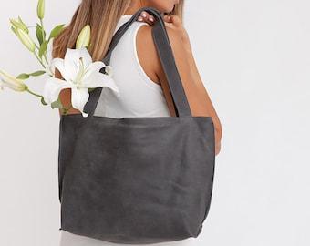 Black Leather Bag, Womens Leather Handbag, Soft Leather Bag, Leather Tote Bag , Shoulder bag, Laptop Tote, Leather Tote With Zipper, SHIRI