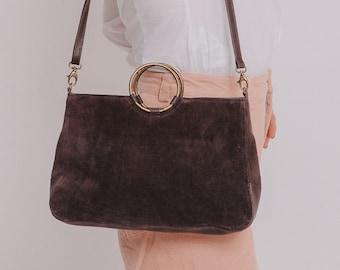 Brown Leather Bag, Leather Handbag Women, Crossbody Purse, Small Crossbody Bag, Suede Bag, Leather Crossbody Bag, Crossbody Bag for Woman