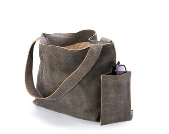 1992aab288 Grey Leather Tote Bag