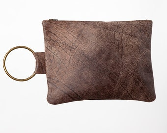 Umber Brown leather clutch - Soft leather bag - clutch purse - Umber Leather wristlet - Hand purse - Metal ring in Brass color