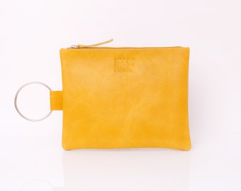 Yellow Leather Clutch Purse, Evening Leather wristlet Bag, Wrsitlet  Leather Clutch, Women handbag with Metal Ring , Gift For her