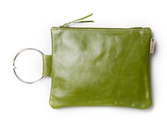 Leather clutch bag - Olive Green purse - Leather wristlet - Evening bag - Metal ring in Nickel - Women Leather Zipper Pouch