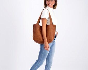 Brown Leather Crossbody Bag, Leather Shoulder Bag, Crossbody Leather Bag with Zipper, Women Bag, Distressed Brown Leather Bag - SHIRI Bag