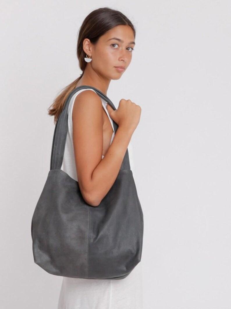 54921b9240c6 Charcoal grey Leather Tote Bag Soft Leather Bag Shoulder