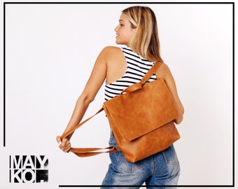 Brown Leather Backpack Women | Women Brown Leather Bags | Leather Laptop Bag | Leather Diaper Bag | Brown Backpack | Brown Leather Bag Purse