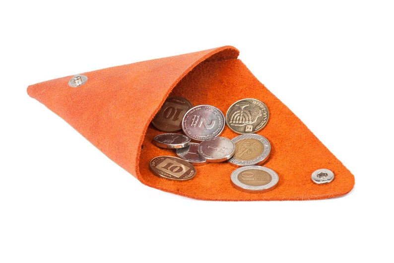 Triangle leather coin purse Men/'s wallet Gift Ideas Small wallet Orange leather coin purse
