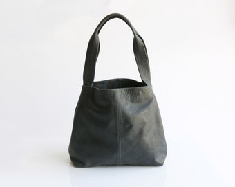 Charcoal grey Leather Tote Bag- Soft Leather Bag - Shoulder Bag - Every Day Bag - Sac Bag - Women Bag - Office Bag - Tami Bag