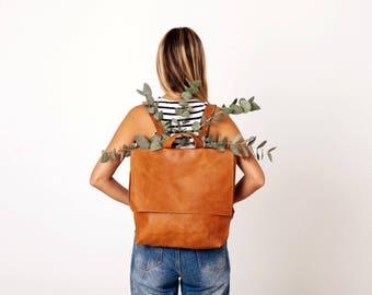 Leather Laptop Backpack Bag, Backpack Women, Personalized Messenger Bag Laptop, Handmade Leather Messenger Bag, Diaper Bag Backpack, MAYKO