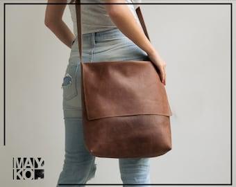 Leather Crossbody Bag, Brown Leather Bag, Crossbody Laptop Bag, Leather Satchel, Woman Messenger Bag, Cross Body Bag Women, Personalized Bag