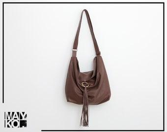 Crossbody Leather Hobo Bag Women, Brown Leather Handbag, Soft Leather Bag, Cross Body Bag, Women's Purse, Fringe Bag, Tassel Leather bag