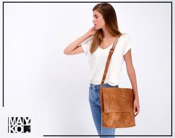 Brown Leather Bag, Leather Messenger Bag, Cross Body Purse, Travel Bag, Gift For Her, Messenger Bag Woman, Personalized Gift Bag, Laptop Bag