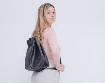 Leather Drawstring Bag, Leather Backpack, Drawstring Backpack, Black Leather Backpack Women, Leather Rucksack Women, Personalized Bag Gift