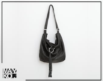 Black Leather Hobo Bag, Women Leather Handbag, Hobo Crossbody Bag, Soft Leather Bag, Adjustable Strap, Leather Tassel Closure, Black Bag