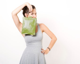 Olive Green leather wristlet purse - Evening Leather bag - Clutch bag - Metal ring in Nickel color