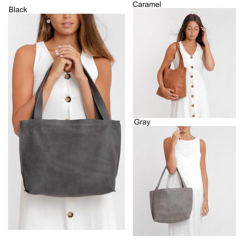 Handmade Leather Bag Handbag Tote Black Leather Tote Large Leather Bag Women Handbag Soft Leather Tote with Zipper Black Leather Bag
