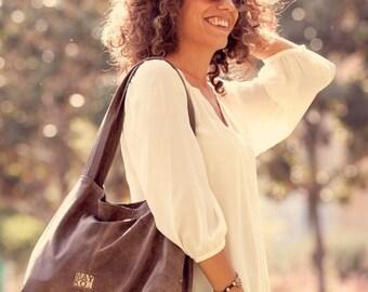 Clearance / Dark brown Leather Tote Bag - Women bag - Over Size Shoulder Bag - Travel Bag - Weekend bag -  Shoulder Bag - Leather bag