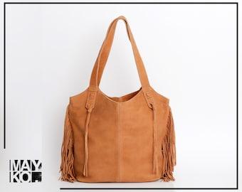 Soft Leather Bag, Large Leather Tote, Fringe Bag, Handmade Leather Purse, Oversized Leather Bag with Zipper, Tan Leather Tote, FRINGE BAG