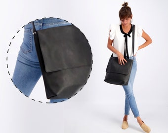 Leather Messenger Bag | Black Leather Cross body Bag | Leather Satchel | Leather Laptop Bag | Leather Shoulder Bag | Minimalist Leather Bag