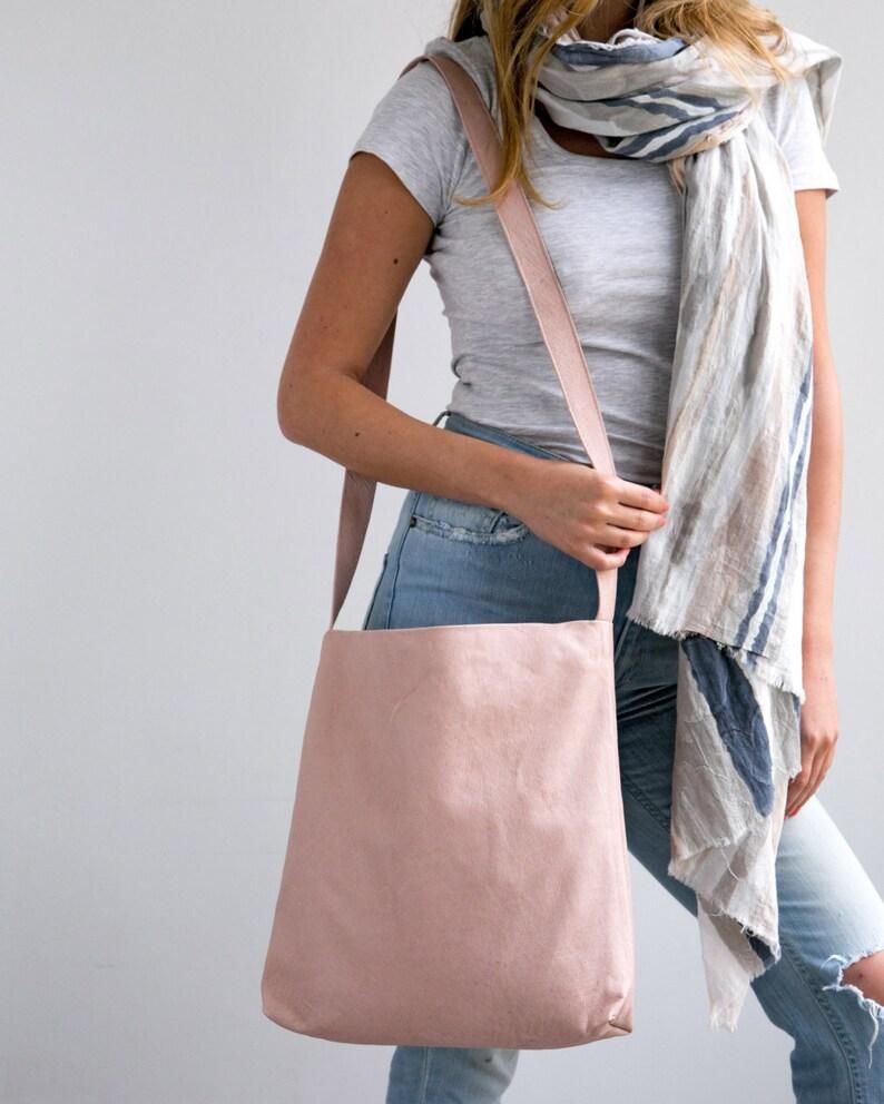 Blush Pink Leather Bag Carry Bag Leather Tote Tote Bag Suede Bag Soft Leather Bag Lightweight Leather Magnet Closer Shoulder Bag