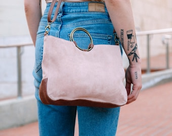 Leather Handbag Women, Small Leather Crossbody Bag, Evening Bag, Pink Leather Bag, Suede Bag, Small Crossbody Bag, Crossbody Bag for Woman