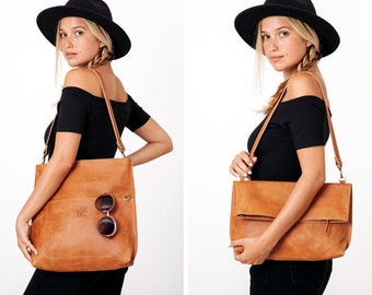 Leather Tote | Leather Bag | Personalized Leather Bag | Convertible Bag | Leather Computer Bag Women | Leather Tote Bag | Foldover Clutch
