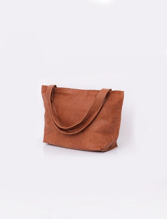 Leather handbag Brown Leather Bag Zipper Bag Women Bag  c0ee194f0a23c
